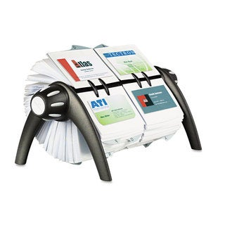 Durable VISIFIX Duo Rotary Business/Address File Holds 800 4 1/8 x 2 7/8 Cards Black