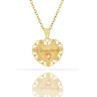 14k Yellow Gold Women's Grandma Heart Diamond-cut Pendant Charm Necklace Chain (3 options available)