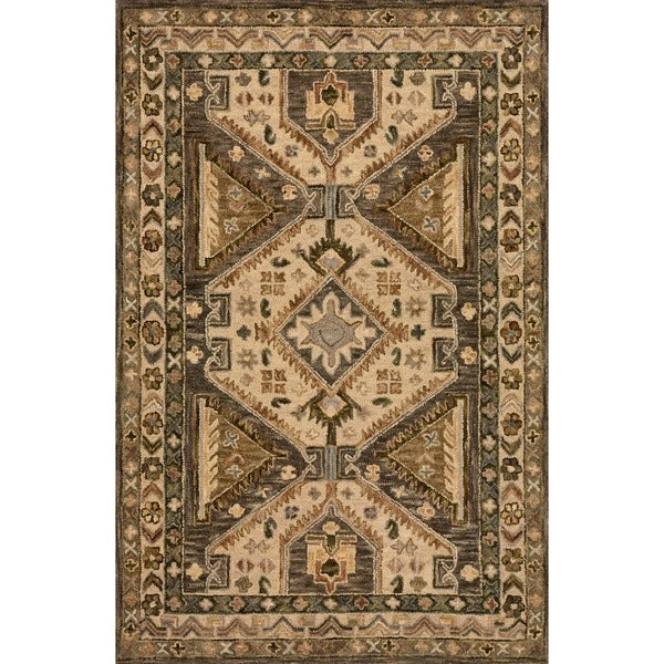 """Hand-hooked Taupe/ Beige Traditional Geometric Wool Area Rug - 9'3"""" x 13'"""