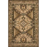 Hand-hooked Taupe/ Beige Traditional Geometric Wool Area Rug - 9'3 x 13'