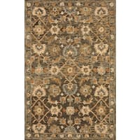 Hand-hooked Dark Taupe Traditional Floral Wool Area Rug - 9'3 x 13'