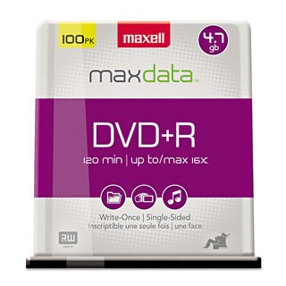 Maxell DVD+R Discs 4.7GB 16x Spindle Silver 100/Pack