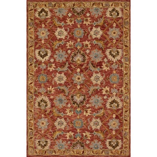 Link to Alexander Home Madaline Hand-Hooked 100% Wool Terracotta Rug Similar Items in Transitional Rugs