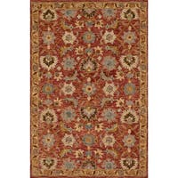 Hand-hooked Rust/ Gold Traditional Floral Wool Area Rug - 9'3 x 13'