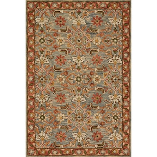 "Hand-hooked Rust/ Grey Traditional Floral Wool Area Rug - 9'3"" x 13'"