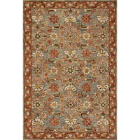 Hand-hooked Rust/ Grey Traditional Floral Wool Area Rug - 9'3 x 13'
