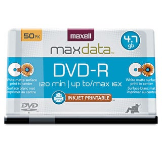 Maxell DVD-R Recordable Discs Printable 4.7GB 16x Spindle White 50/Pack