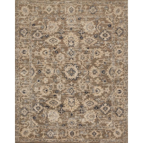 Traditional Khaki Floral Vintage Classic Rug - 9'3 x 13'