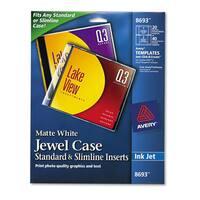 Avery Inkjet CD/DVD Jewel Case Inserts Matte White 20/Pack