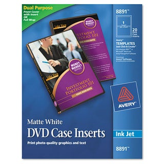 Avery Inkjet DVD Case Inserts Matte White 20/Pack