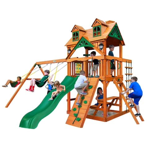 Gorilla Playsets Chateau Wooden Swing Set with Malibu Roof - Brown