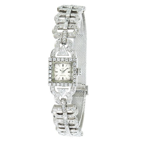Pre-owned Omega Women's 18k White Gold Vintage Dress Watch
