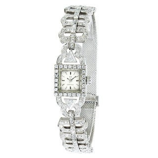Pre-owned Omega Women's 18k White Gold Vintage Dress 650 Watch