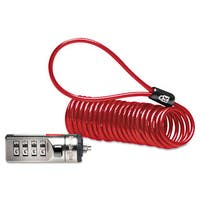 Kensington Portable Combination Laptop Lock 6ft Steel Cable Red