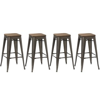 30-inch Industrial Stackable Antique Distressed Bronze Rustic Counter Bar Stool with handmade wood seat (4 Pack Bar stools)