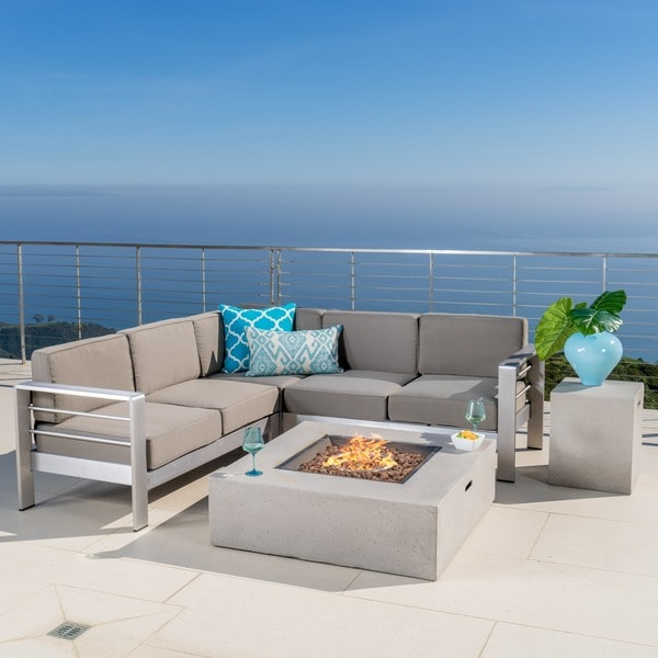 Cape Coral Outdoor 5-piece V Shaped Sofa Set with Fire Table by Christopher Knight Home