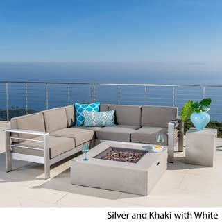 Cape C Outdoor 5 Piece V Shaped Sofa Set With Fire Table By Christopher Knight