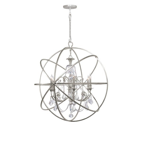 Crystorama Solaris Collection 6-light Olde Silver/Crystal Chandelier