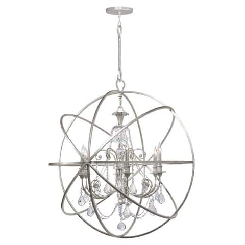 Copper Grove Poltava 6-light Silvertone and Crystal Globe Chandelier
