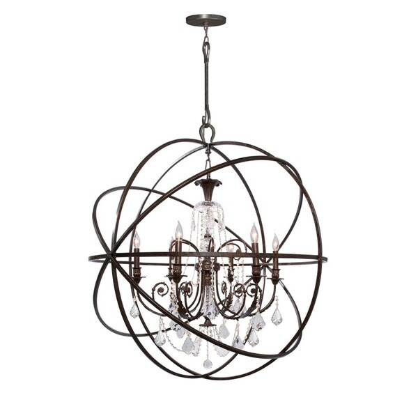 Crystorama Solaris Collection 6-light English Bronze/Crystal Chandelier