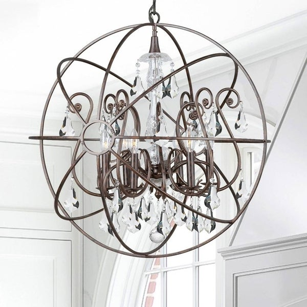 6-light English Bronze/Crystal Chandelier