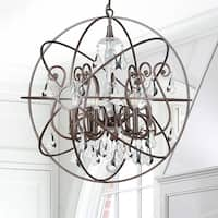 6-light English Bronze/Crystal Chandelier