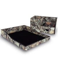 Ikee Design Wood Marble Pattern Desk Organizer
