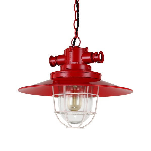 Journee Home 'Wagner' 9 in Iron Hard Wired Industrial Pendant Light With Included Edison Bulb