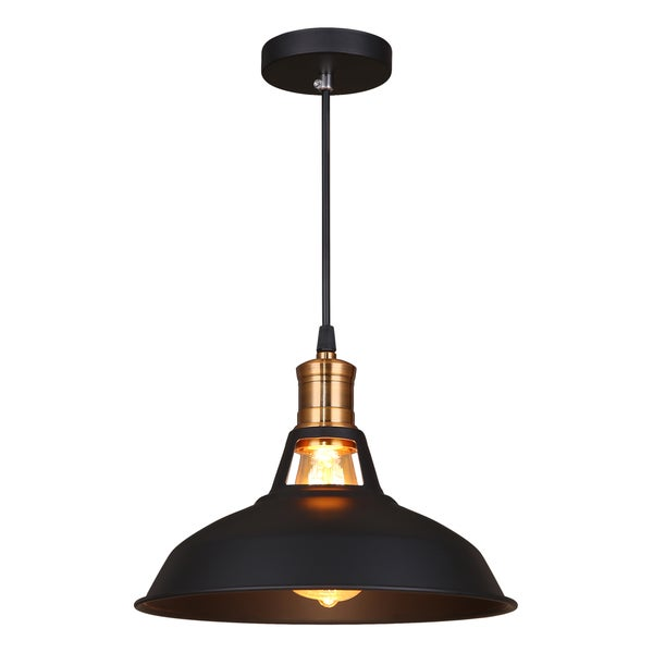 Journee Home 'Stephen' 7 in Industrial Hard Wired Iron Pendant Light With Included Edison Bulb