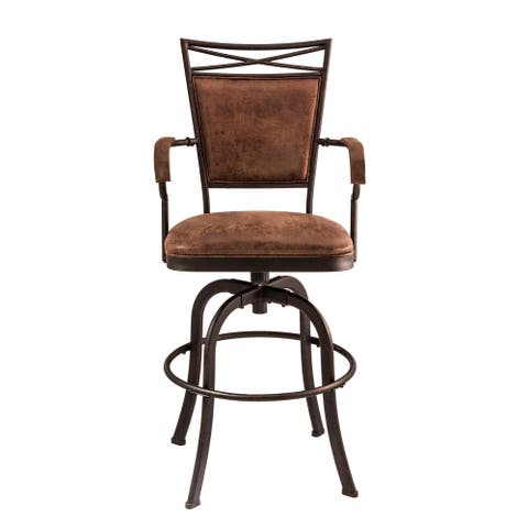 Hillsdale Furniture Bridgetown Tilt Bar Stool, Aged Bronze With Weathered Brown Faux Leather