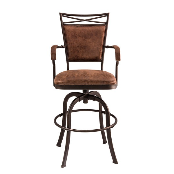 Hillsdale Furniture Bridgetown Tilt Bar Stool, Aged Bronze With Weathered Brown Faux Leather. Opens flyout.