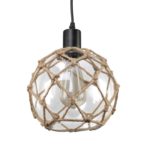 Journee Home 'Nura' 8 in Hard Wired Glass Hemp Net Pendant Light