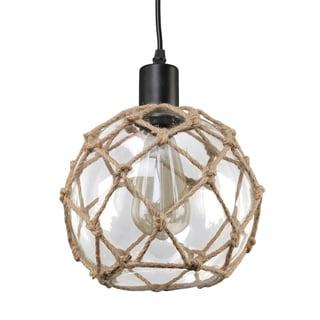 Journee Home 'Nura' 8 in Hard Wired Glass Hemp Net Pendant Light