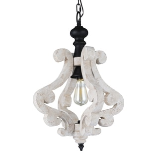 Journee Home 'Lucian' 22 in Hard Wired Distressed Wood Pendant Light