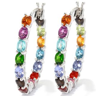 Sterling Silver Exotic Multi Gemstone Hoop Earrings