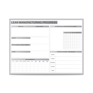 Ghent LEAN Manufacturing Magnetic Whiteboard with Aluminum Frame (3' x 4')