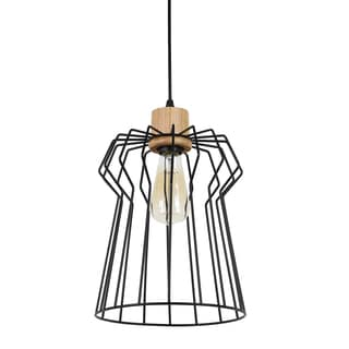Journee Home 'Seraphima' 13 in Hard Wired Iron Wood Pendant Light With Included Edison Bulb