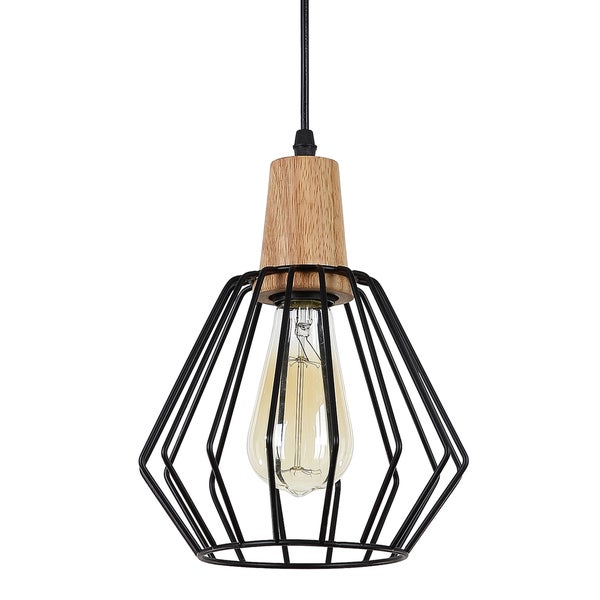 Journee Home 'Seraphina' 9 in Hard Wired Iron Wood Pendant Light With Included Edison Bulb