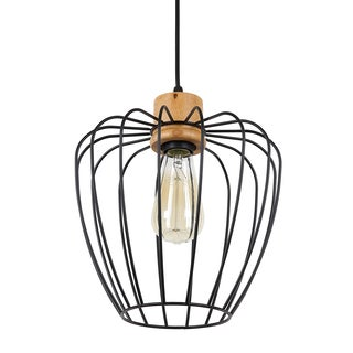 Journee Home 'Seraphino' 10 in Hard Wired Iron Wood Pendant Light With Included Edison Bulb