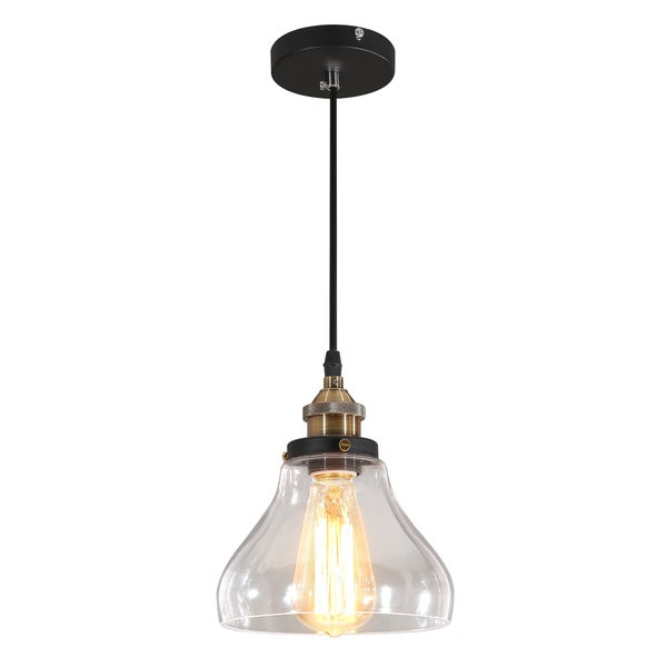 Journee Home 'Andrei' 9 in Hard Wired Glass Pendant Light With Included Edison Bulb