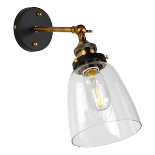 Journee Home 'Albert' 9 in Hard Wired Glass Iron Wall Sconce With Included Edison Bulb