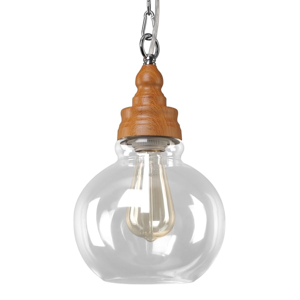 Journee Home 'Innovator' 13 in Hard Wired Glass Pendant Light With Included Edison Bulb