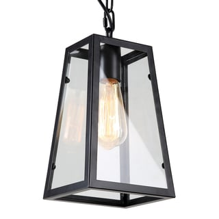 Journee Home 'Mackenna' 10 in Hard Wired Glass Pendant Light With Included Edison Bulb