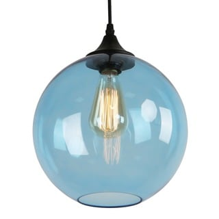 Journee Home 'Illuminare' 10 in Hard Wired Glass Pendant Light With Included Edison Bulb