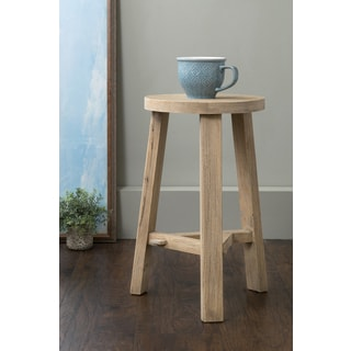 East At Main's Averill Brown Round Rubberwood Stool