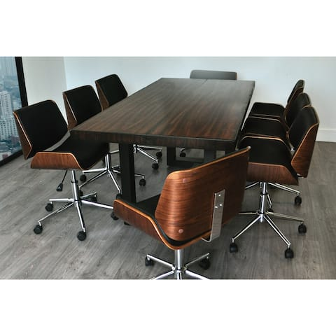 Solis Rebus Reclaimed Wood Table and Bonded Leather Upholstered Accent Office Chairs 9-piece Conference Set