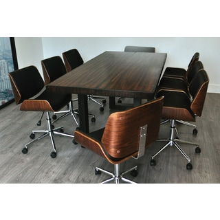 Solis Rebus Reclaimed Wood Table and Bonded Leather Upholstered Accent  Office Chairs 9 piece ConferenceConference Tables   Shop The Best Deals for Sep 2017   Overstock com. Meeting Room Table And Chairs. Home Design Ideas