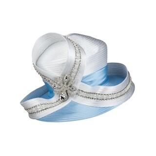 Giovanna Signature Women's White/Gold Embellished Satin Ribbon Hat
