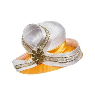 Giovanna Signature Women's White/Gold Embellished Satin Ribbon Hat