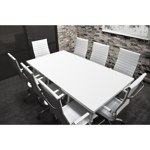 SOLIS Lucidum White Laqcuered Solid Wood Table and Bonded Leather Office Chairs 9-piece Conference Set